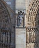 Facciata della cattedrale Notre Dame de Paris Fotografia Stock Libera da Diritti
