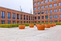 Facciata della costruzione di mattone moderna con un albero nella parte anteriore Fotografia Stock Libera da Diritti