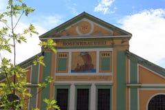 Facciata della fabbrica di birra Rosenbrauerei in Kaufbeuren Fotografia Stock