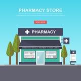 Facciata della farmacia nello spazio urbano Fotografie Stock