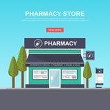 Facciata della farmacia nello spazio urbano Immagini Stock