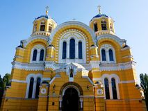Facciata della st Vladimir Cathedral a Kiev fotografia stock libera da diritti