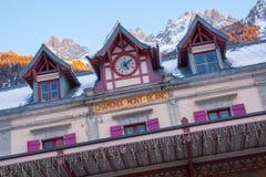 Facciata della stazione ferroviaria di Chamonix-Mont-Blanc Immagini Stock Libere da Diritti