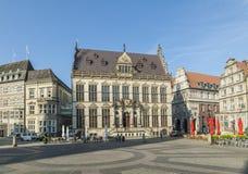 Facciata dello schuetting, una precedente casa di cooperativa a Brema fotografia stock libera da diritti