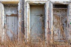 Facciata di costruzione abbandonata Fotografia Stock