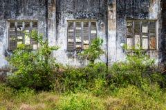 Facciata di costruzione abbandonata con grande Windows Immagine Stock