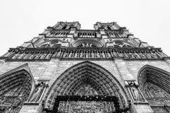 Facciata di Notre-Dame Carthedral, Parigi Fotografia Stock