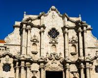 Facciata di San Cristobal Cathedral, Havana Cathedral Il quadrato della cattedrale ? uno dei quadrati principali a vecchia Avana, fotografia stock libera da diritti