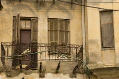 Facciata di vecchia casa rinnovata Israele Immagini Stock Libere da Diritti