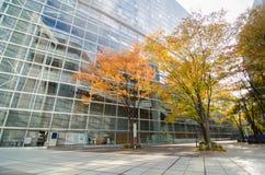 Facciata di vetro di costruzione moderna, architettura futuristica immagini stock