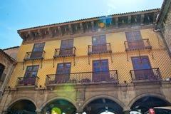 Facciata esteriore Poble Espanyol, Barcellona della costruzione Fotografia Stock Libera da Diritti