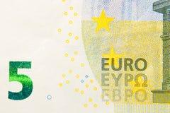 Facciata frontale della nuova banconota dell'euro cinque Fotografia Stock Libera da Diritti