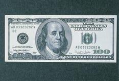 Facciata frontale di nuova fattura del dollaro 100 Fotografie Stock Libere da Diritti