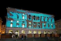 Facciata illuminata del palazzo della regione della Liguria nella città di Genova, Italia fotografie stock libere da diritti