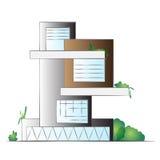 Facciata moderna dell'edificio per uffici della residenza illustrazione di stock