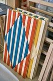 Facciata multicolore Dettaglia la produzione del legno Fotografia Stock