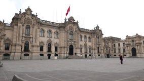 Facciata peruviana del palazzo presidenziale a Lima del centro Fotografia Stock Libera da Diritti
