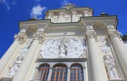 Facciata pienamente decorata della chiesa, Ptuj Immagine Stock