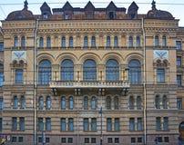 Facciata posteriore del club del ` degli ufficiali del distretto militare in San Pietroburgo, Russia di Lenigradsky Immagini Stock Libere da Diritti