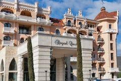 Facciata reale dell'albergo di lusso del castello in Elenite, Bulgaria Fotografie Stock Libere da Diritti