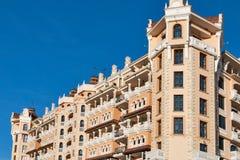 Facciata reale dell'albergo di lusso del castello in Elenite, Bulgaria Fotografia Stock