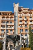 Facciata reale dell'albergo di lusso del castello in Elenite, Bulgaria Immagini Stock Libere da Diritti