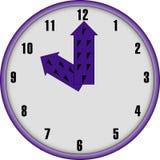 Facd del reloj con las manos púrpuras Foto de archivo libre de regalías