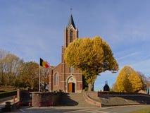 Facde van de kerk van Saint Martin van onkerzele, Vlaanderen, België royalty-vrije stock foto's