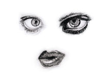 Face. Drawing face angel and devil - abstract Royalty Free Stock Photo