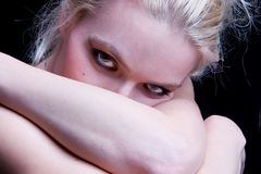 Face. Blonde woman with pretty eyes Royalty Free Stock Photo
