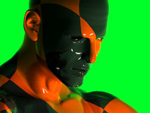 The face of an abstract colorful black-red man. Abstract colorful black-red man Stock Photo