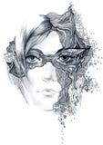 Face abstrata da mulher ilustração stock