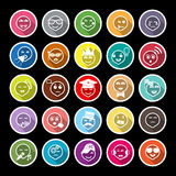 Face action line flat icons with long shadow Royalty Free Stock Image