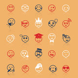 Face action line icons flat color with reflect Royalty Free Stock Photo