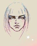 Face adolescente da menina da forma ilustração do vetor
