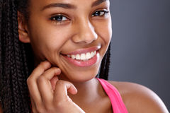 Face of Afro-American girl with nice smile. With beautiful teeth Royalty Free Stock Photos