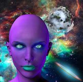 The face of an alien. The face of female alien. Colorful universe and abstract exoplanet on a background. Human elements were created with 3D software and are Stock Image