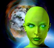 The face of an alien. The face of female alien. Colorful universe and abstract exoplanet on a background. Human elements were created with 3D software and are royalty free illustration