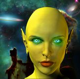 The face of an alien. The face of female alien. Colorful universe on a background.bHuman elements were created with 3D software and are not from any actual human Stock Photography