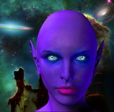 The face of an alien. The face of female alien. Colorful universe on a background. Human elements were created with 3D software and are not from any actual human Royalty Free Stock Photo