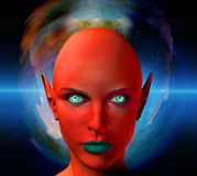 The face of an alien. The face of female alien. Colorful universe on a background. Human elements were created with 3D software and are not from any actual human Royalty Free Stock Images