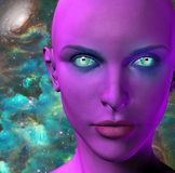 The face of an alien. The face of female alien. Colorful universe on a background. Human elements were created with 3D software and are not from any actual human vector illustration