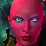 The face of an alien. The face of female alien. Colorful universe on a background. Human elements were created with 3D software and are not from any actual human royalty free illustration