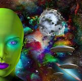 The face of an alien. The face of female alien. Flying saucers in colorful universe and abstract exoplanet on a background. Human elements were created with 3D Stock Photos