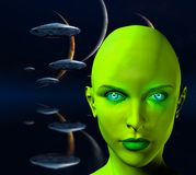 The face of an alien. The face of female alien. Three moons and spaceships in blue deep space. Human elements were created with 3D software and are not from any Royalty Free Stock Photography