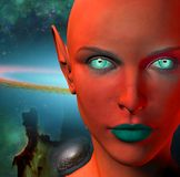 The face of an alien. The face of female alien. Colorful universe on a background. Human elements were created with 3D software and are not from any actual human Stock Photography
