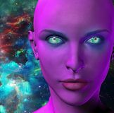 The face of an alien. The face of female alien. Colorful universe on a background. Human elements were created with 3D software and are not from any actual human Royalty Free Stock Photography
