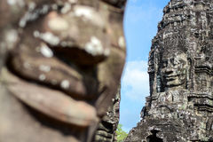 Face of ancient Bayon Temple Stock Images