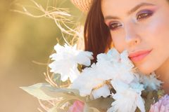 Free Face And Skincare. Look Over There. Travel In Summer. Woman With Fashion Makeup. Spring Woman. Springtime And Vacation Royalty Free Stock Photo - 138678795