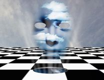 Face from another dimension. Surrealism. Chessboard with hole to another dimension. Mask with clouds. Human elements were created with 3D software and are not stock illustration